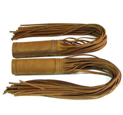 Tan Leather Fringe Throttle Covers