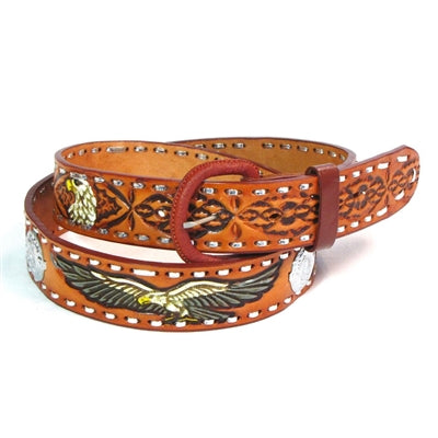 Brown Leather Tooled Eagle Belt