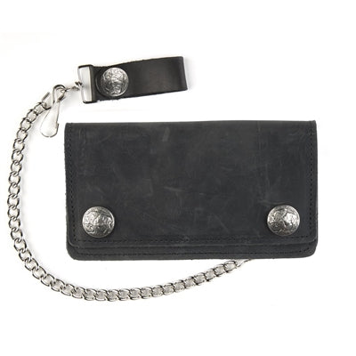 Black Leather Biker Wallet With Chain and Buffalo Snaps