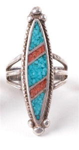 Vintage Sterling Silver Turquoise and Coral Chip Ring Size 4