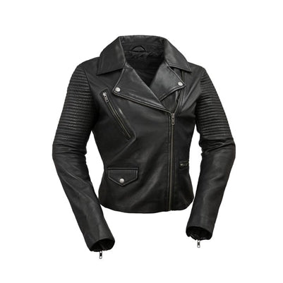 Black Leather Heather Crop Jacket