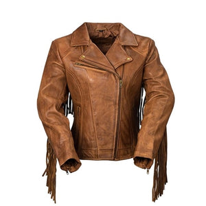Tan Leather Fringe Jacket
