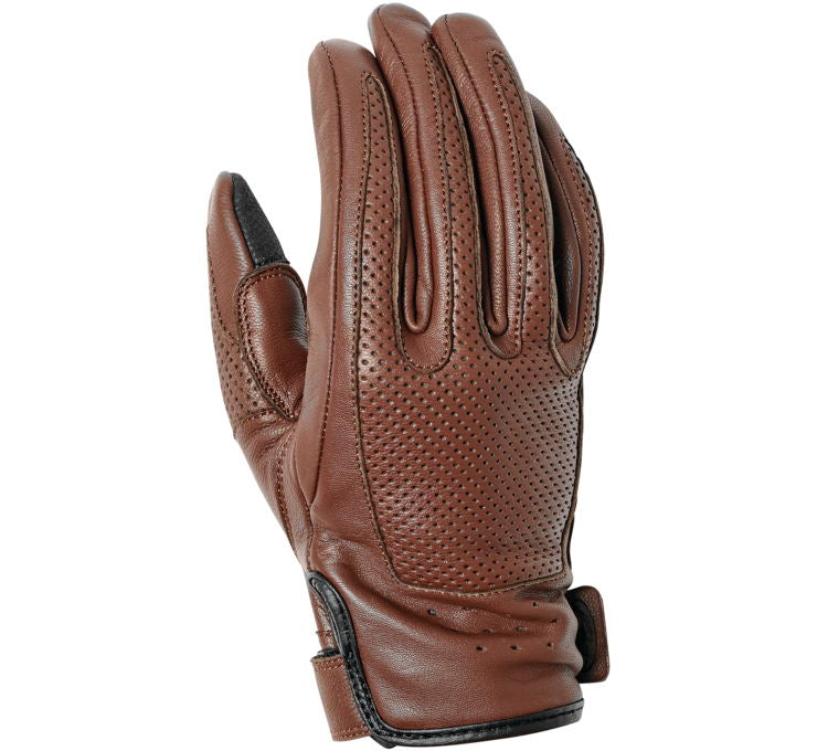 Women's Loma Perforated Brown Leather Riding Gloves