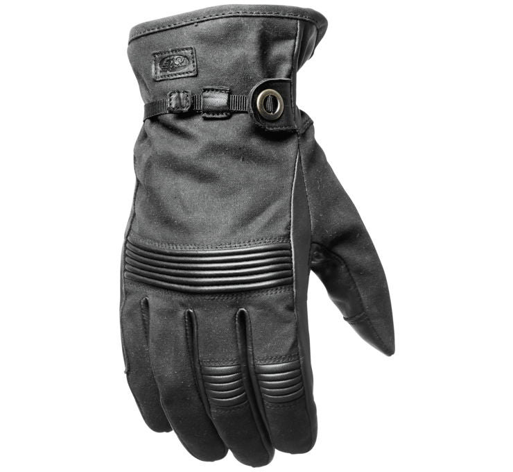 Roland Sands Design Men's Truman Black Waxed Cotton Gloves
