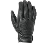 Women's Loma Perforated Black Leather Riding Gloves