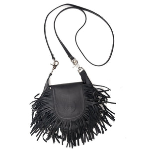 Black Fringe Leather Clip On Pouch Crossbody