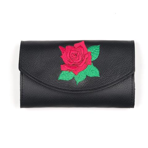 Red Rose Embroidered Wallet