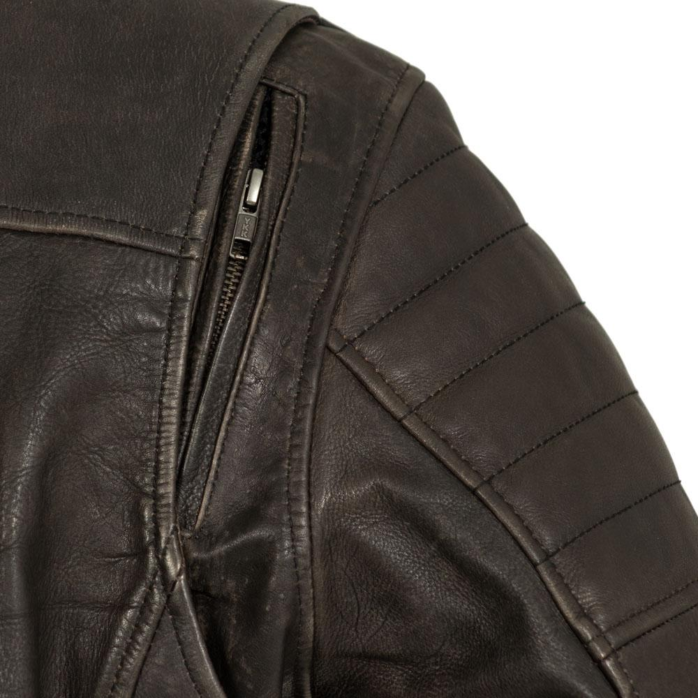 Men's Brown Leather Commuter Motorcycle Jacket