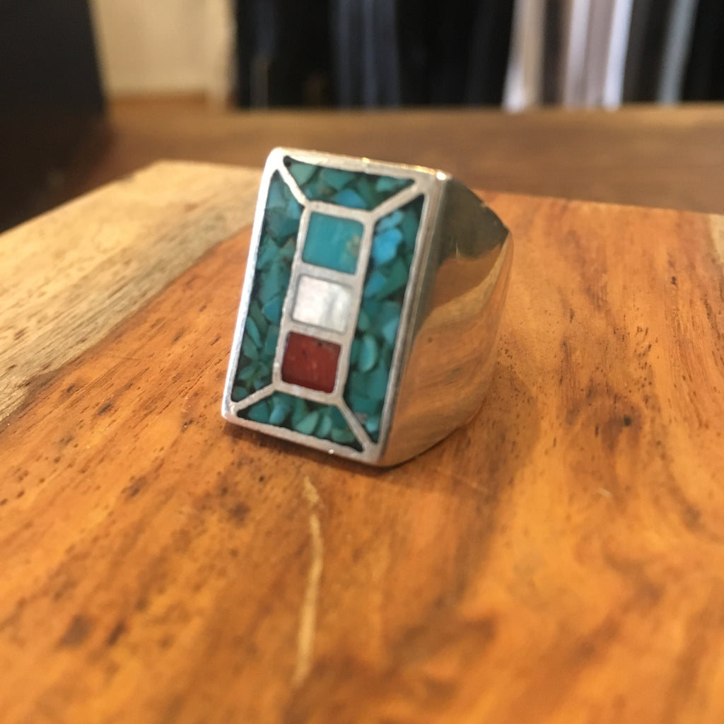 Turquoise Coral and Mother of Pearl Tiled Sq Ring Size 8