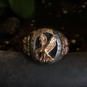 Vintage Sterling, Onyx and Black Hills Gold Eagle Ring Size 12