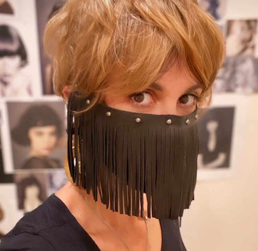 Leather Fringe Mask Cover