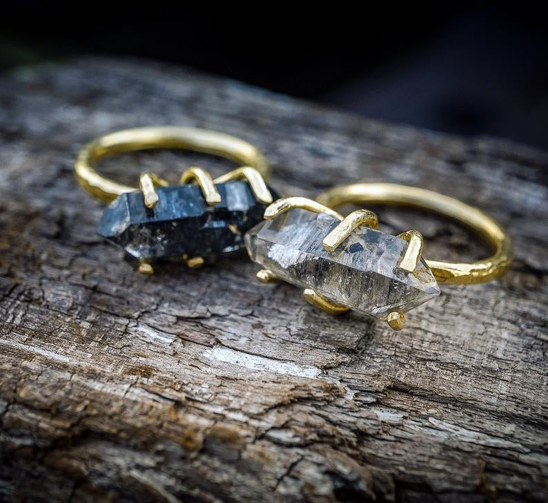 Herkimer Diamond Brass Stacking Rings