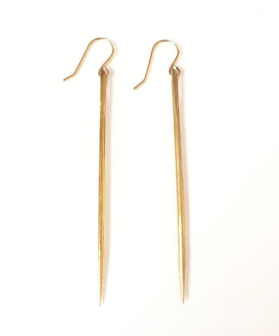 Bronze Sewing Needle Earrings