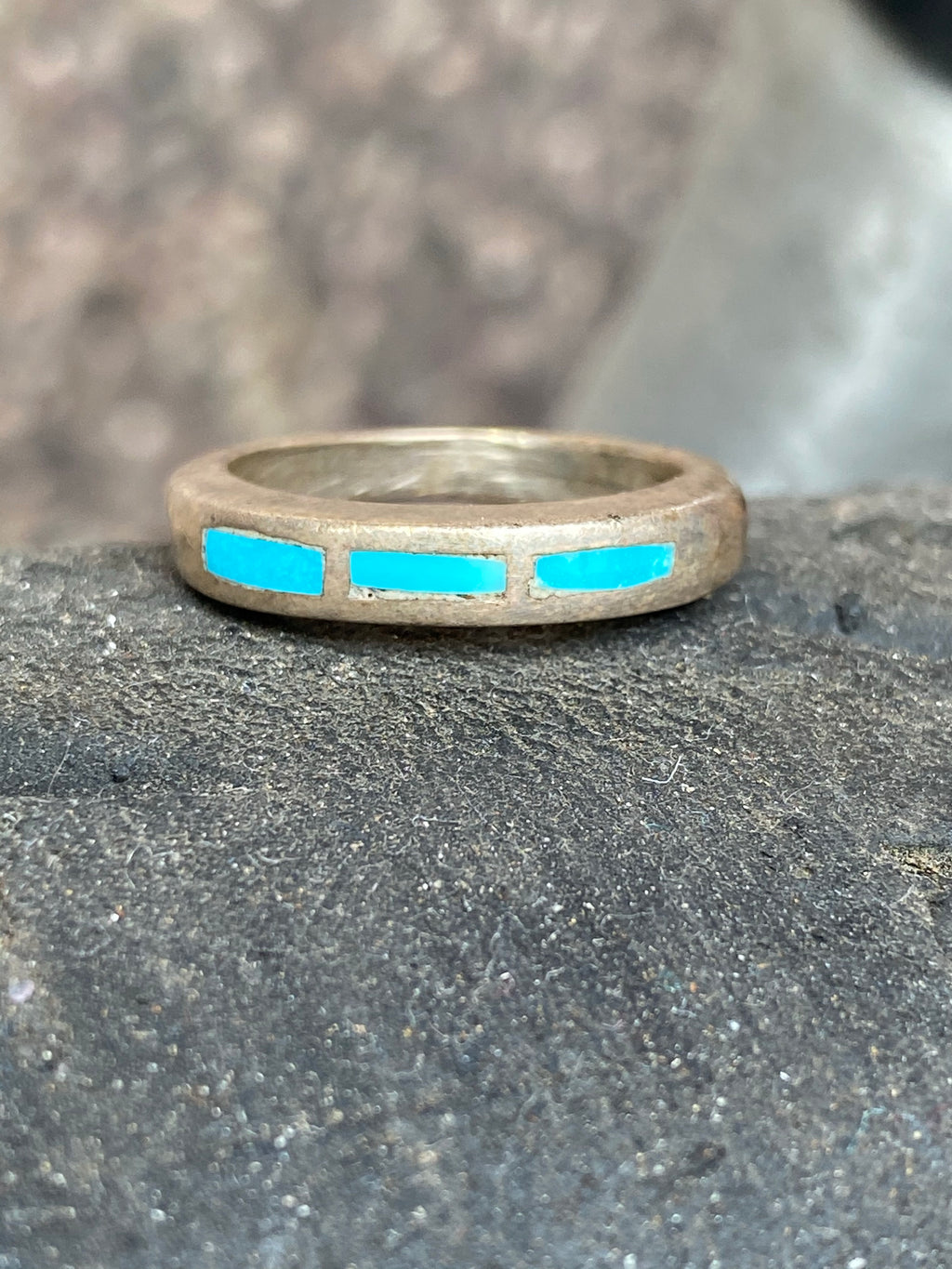 Vintage Sterling Turquoise Band Size 6.5