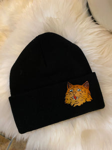 Tooled Leather Fluffy Kitty Beanie