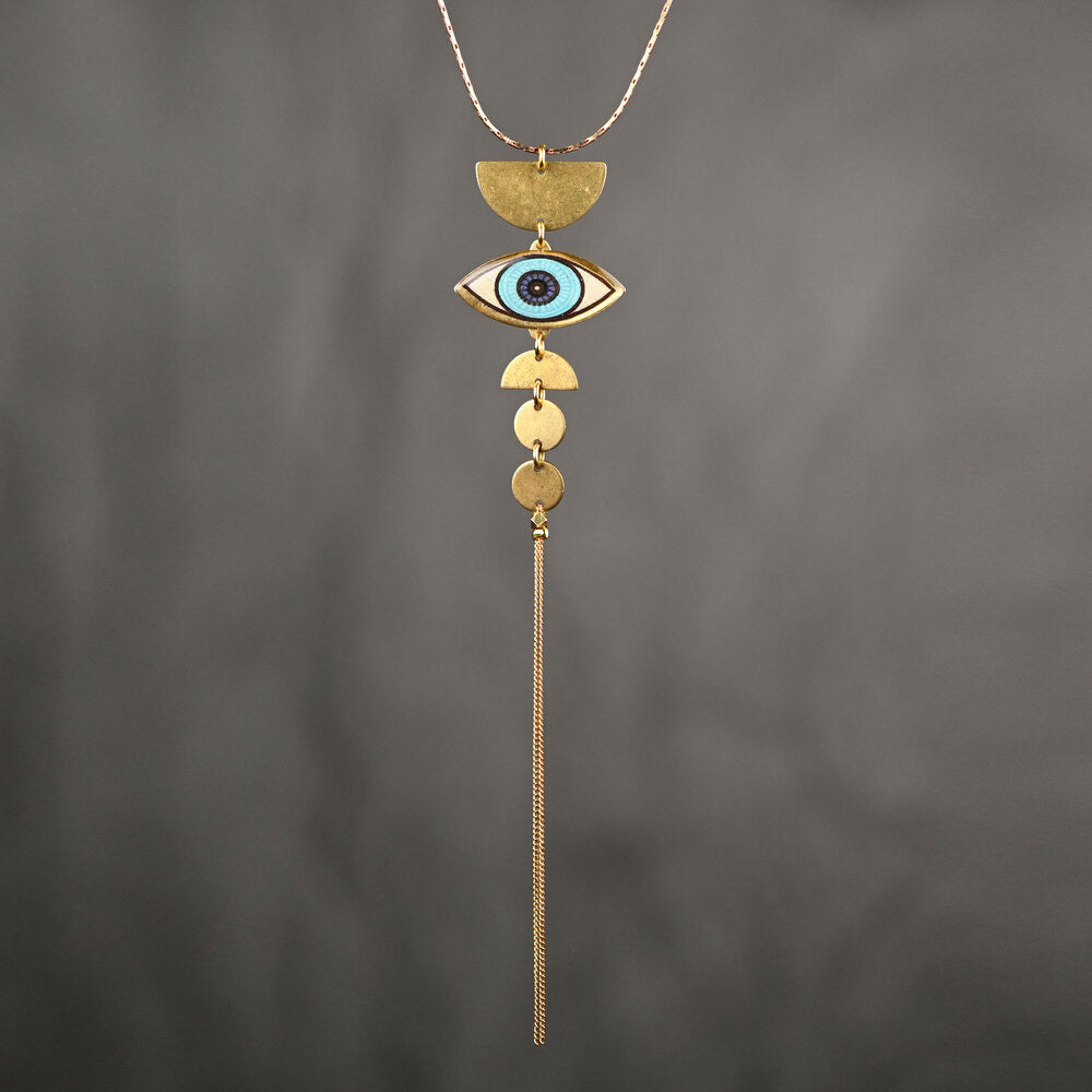 Picture Dramatic Deco Eye Necklace