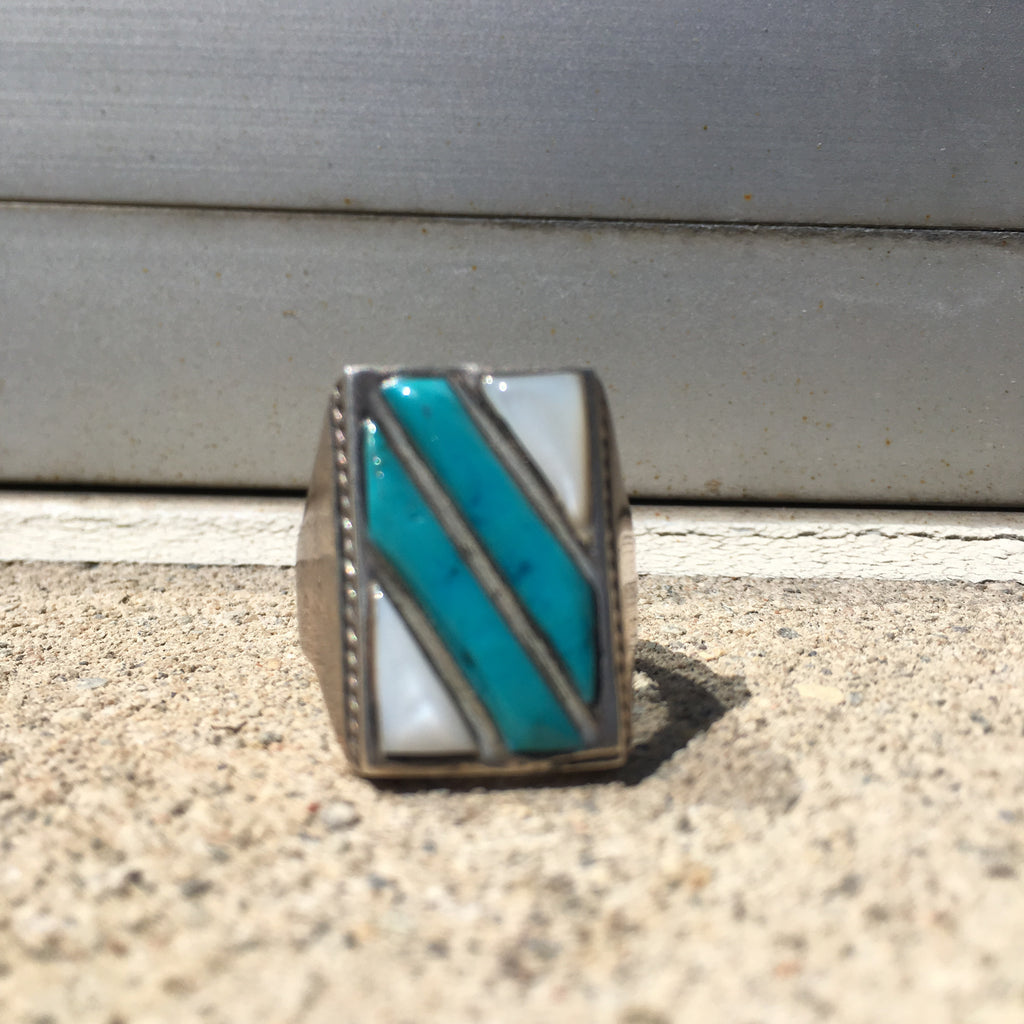 Vintage Sterling Mother of Pearl and Turquoise Ring Size 10.75