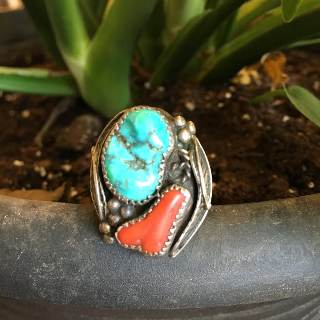 Vintage Sterling Turquoise and Coral Ring Size 10.75