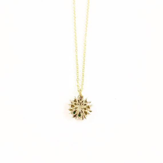 Tiny Brass Pinecone Necklace