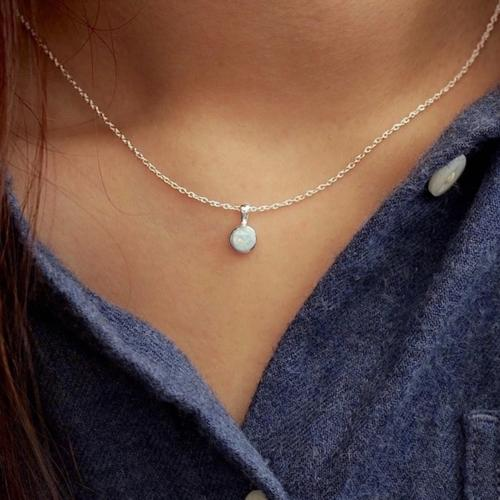 White Opal Sterling Necklace