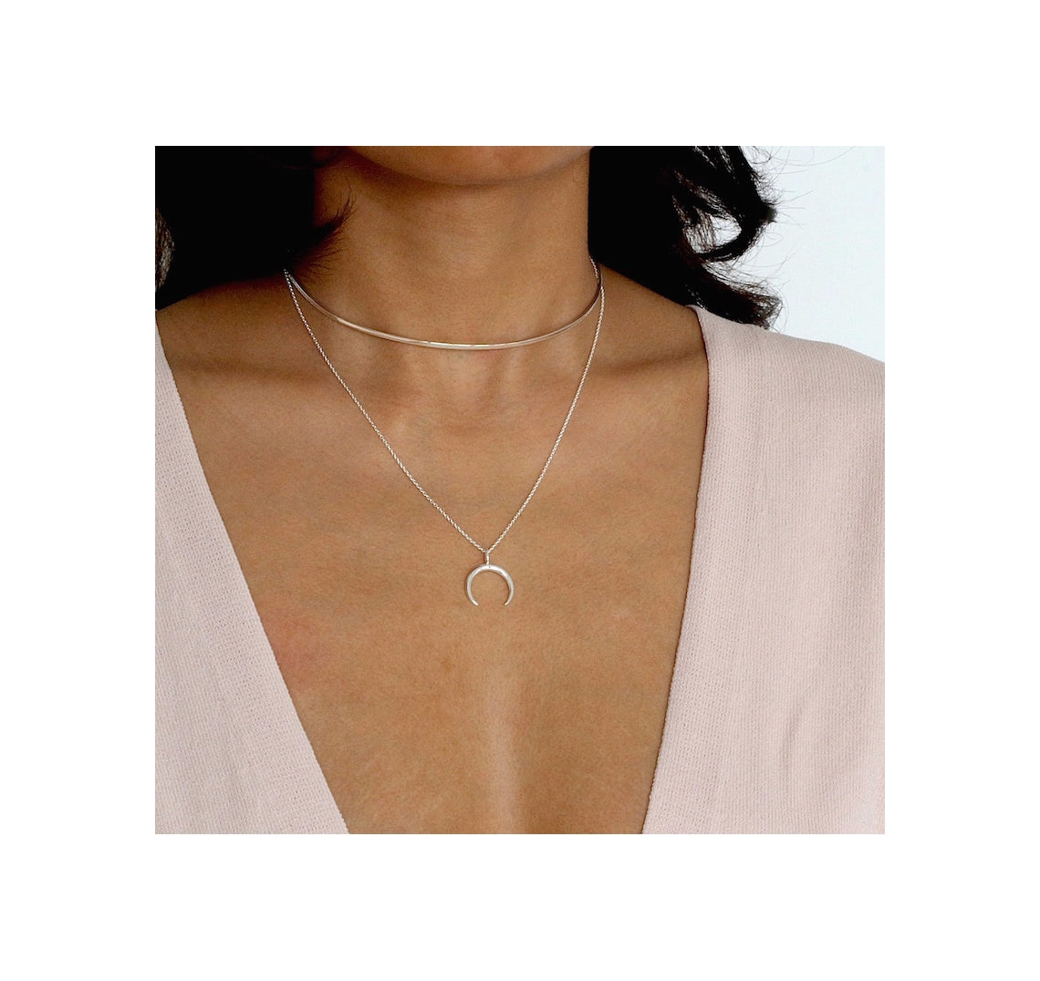 Sterling Silver Waning Crescent Moon Necklace
