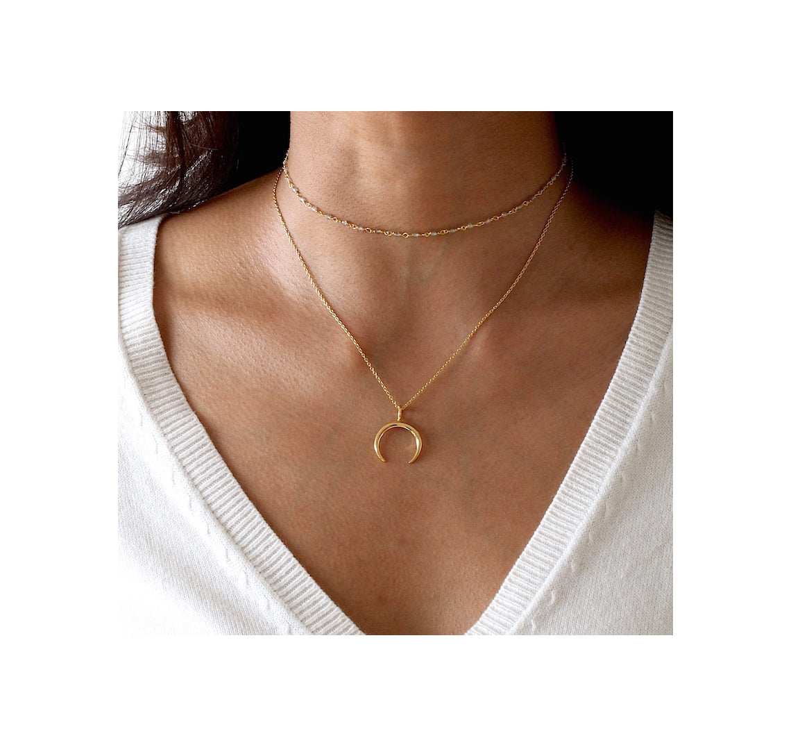 Gold Waning Crescent Moon Necklace