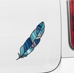 CLR:CAR - Stained Glass Feather - Bird Feathers - Opaque Vinyl Car Decal - Copyright 2017 YYDCo - (MD) (VARIATIONS AVAILABLE)