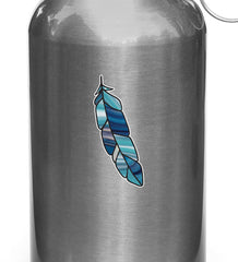 CLR:WB - Stained Glass Feather - Bird Feathers - Opaque Vinyl Water Bottle Decal - Copyright 2017 YYDCo - (SM) (VARIATIONS AVAILABLE)