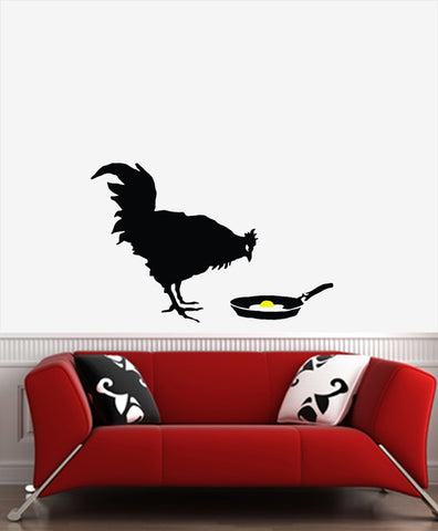 "WALL - Chicken and Egg - Wall Vinyl Decal (33""w x 21.5""h) (BLACK w YELLOW)"
