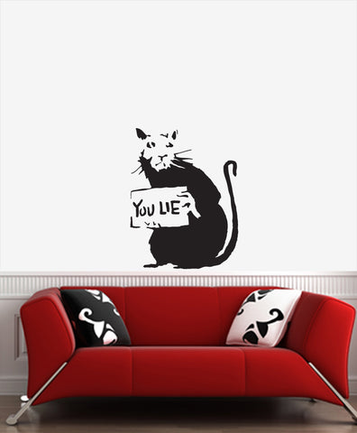 "WALL - Rat ""You Lie"" - Wall Vinyl Decal (20""w x 27""h) (BLACK)"