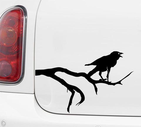"CAR - Crow on Branch - Car Vinyl Decal (8""w x 5""h) (Variations Available)"