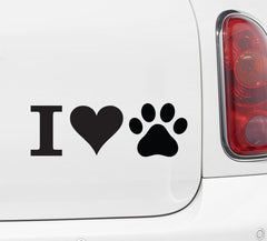 "CAR - I Heart Paws - Car Vinyl Decal Sticker -  ©YYDC (8""w x 2.75""h) (WHITE)"