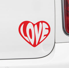 "CAR - Love Heart Text - Car Vinyl Decal Sticker (4""w x 3.5""h) YYDC (Color Choices)"