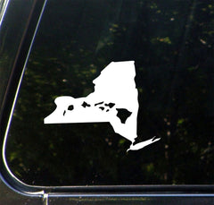 "CAR - Aloha New York - Hawaiian Islands in the State of New York - HI NY - Vinyl Car Decal - Copyright © 2016 Yadda-Yadda Design Co. (MD 4""w x 5""h)(Color Choices)"