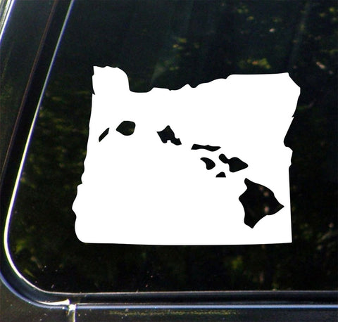 "CAR - Aloha Oregon - Hawaiian Islands in the State of Oregon - Vinyl Car Decal - Copyright © 2016 Yadda-Yadda Design Co. (6""w x 4.5""h)(Color Choices)"