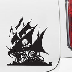 "CAR - Pirate Ship w/ Skull & Crossbones - Car Vinyl Decal Sticker - (6.5""w x 6.75""h) (Variations Available)"