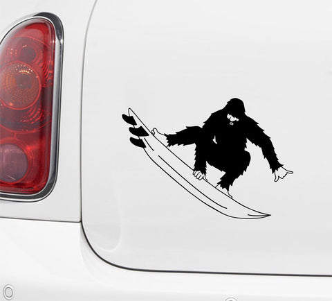 "CAR - Surfin' Sasquatch Shreds - Bigfoot - Yeti - ©YYDC - Car Vinyl Decal (5.5""w x 5.5""h)"