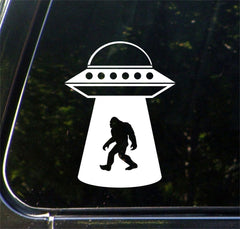"CAR - Sasquatch UFO Abduction - Bigfoot - Aliens - Vinyl Car Decal ©YYDCo. (4""w x 5.5""h) (COLOR CHOICES)"