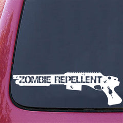 "CAR - Zombie Repellent - Car Vinyl Decal (11.25""w x 3.5""h) (WHITE)"