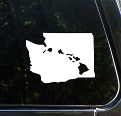 "CAR - Aloha Washington - Hawaiian Islands in Washington State - Vinyl Car Decal - Copyright © 2016 Yadda-Yadda Design Co. (5.5""w x 4""h)(Color Choices)"