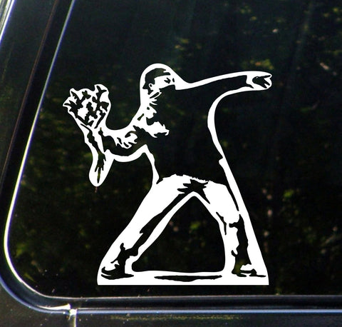 "CAR - Molotov Guy Throwing Flowers - Car Vinyl Decal Sticker - (5.75""w x 6""h) (WHITE)"