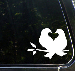 "CAR -  Lovebirds - Bird Pair - Heart - Nest  - Vinyl Car Decal - Copyright 2014 © YYDC (4.5""w x 3.5""h)(Color Choices)"