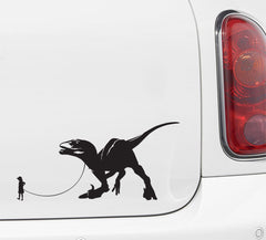 "CAR - Dinosaur Pet - Child with Velociraptor - Car | Truck | ATV Vinyl Decal - ©YYDC (7""w x 3.5""h) (Variations Available)"