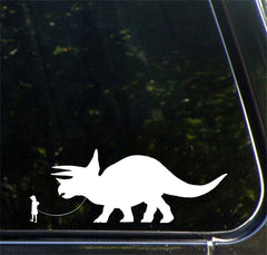 "CAR - Dinosaur Pet - Child with Triceratops - Car | Truck | ATV Vinyl Decal - ©YYDC (7""w x 3""h) (Variations Available)"