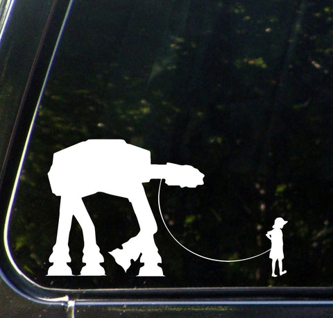 "CAR - Boy Walking AT-AT Robot - Vinyl Car Decal Sticker - (7.75""w x 4.5""h) (Color Variations Available)"
