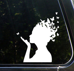 "CAR - Butterfly Girl - Car Vinyl Decal - (5.5""w x 6.5""h) (Color Choices)"