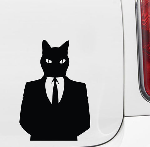 "CAR - Business Time Cat  - Vinyl Car Decal - Copyright 2014 © YYDC (Color Choices)(MD 3.75""w x 5.25""h)"