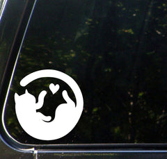 "CAR - Cat Circle Playing With Heart - Car Vinyl Decal Sticker - (4""w x 4""h) © YYDC (Color Choices)"