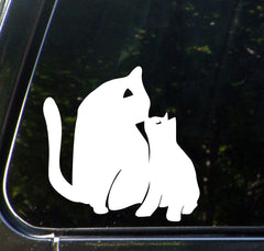 "CAR - Cat Mom and Baby Kitten Kiss - D2 - Car Vinyl Decal Sticker - © YYDC (4""w x 4""h) (COLOR VARIATIONS AVAILABLE)"