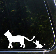 "CAR - Cat Mom & Kitten Playing w/ Tail - DESIGN 1 - Car Vinyl Decal Sticker - © YYDC (6""w x 2.75""h)"